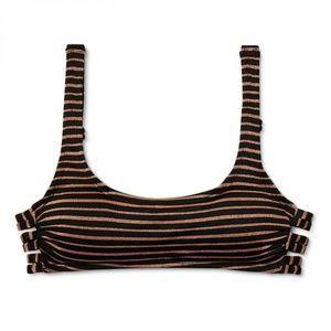 NWT Xhilaration Strappy Back Bikini Top D/DD Black